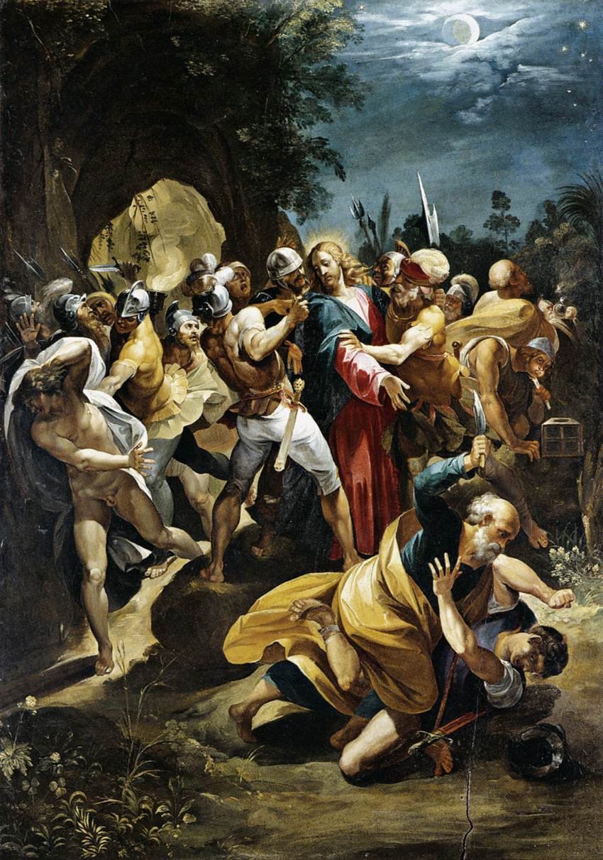 Apostle Peter striking the High Priests' servant Malchus with a sword in the Garden of Gethsemane.